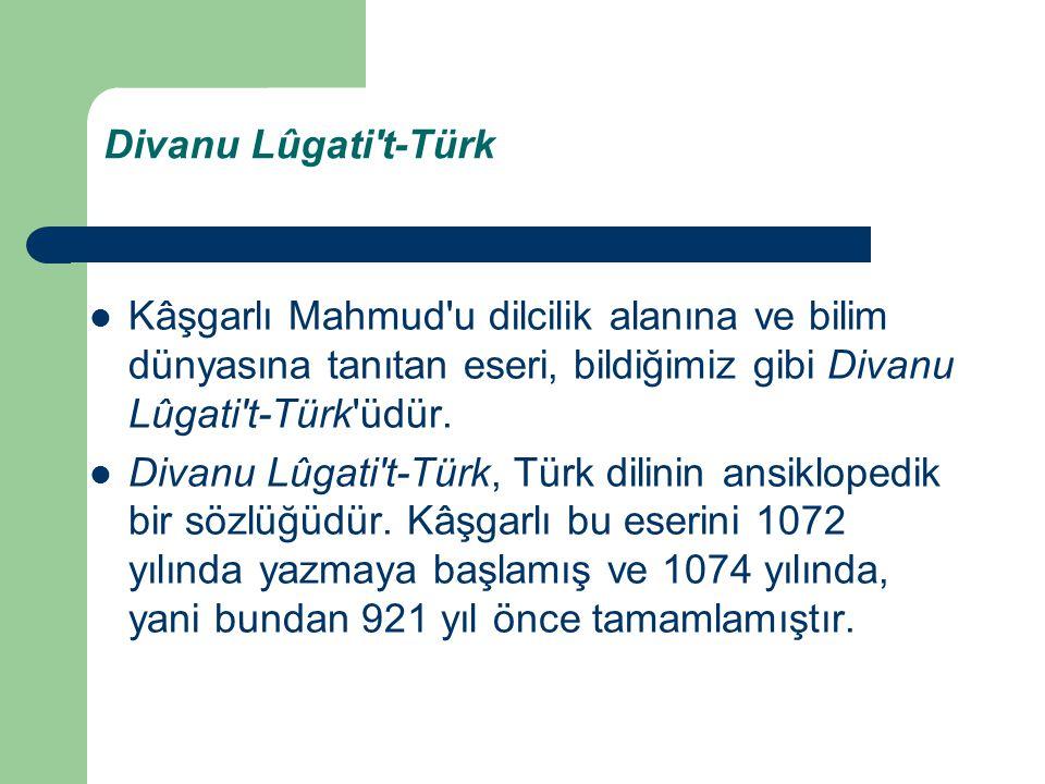 Divanu Lûgati't-Türk Kâşgarlı Mahmud'u dilcilik alanına ve bilim dünyasına tanıtan eseri, bildiğimiz gibi Divanu Lûgati't-Türk'üdür. Divanu Lûgati't-T