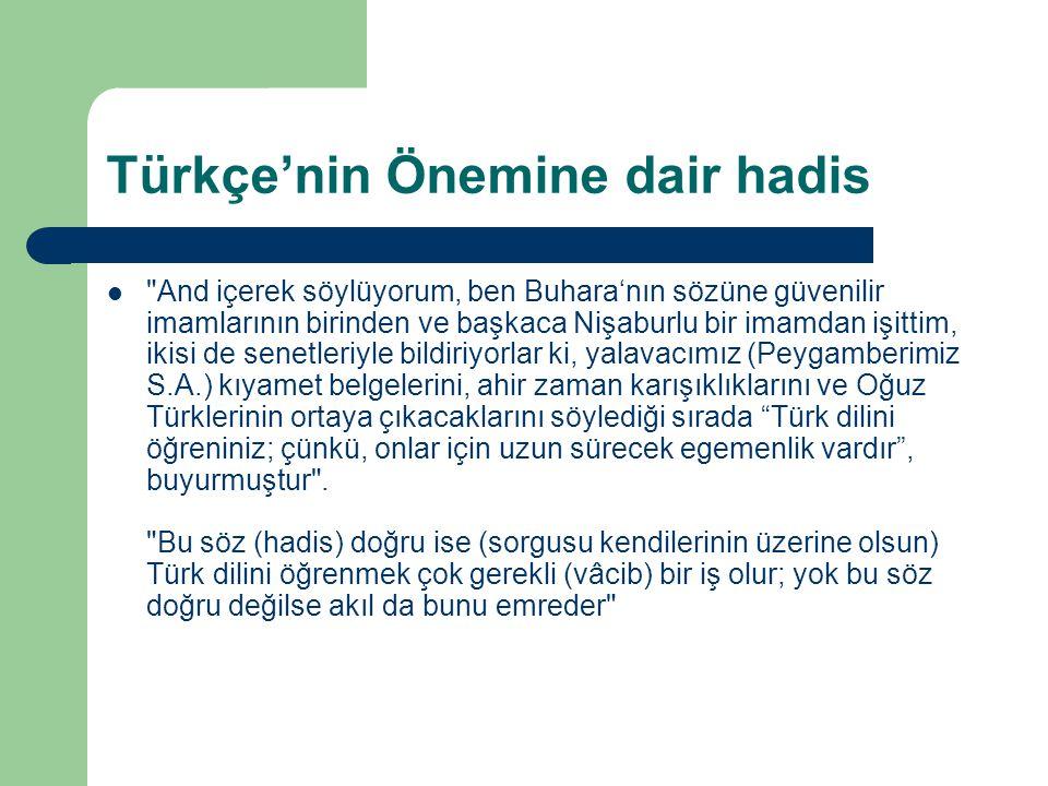 Türkçe'nin Önemine dair hadis