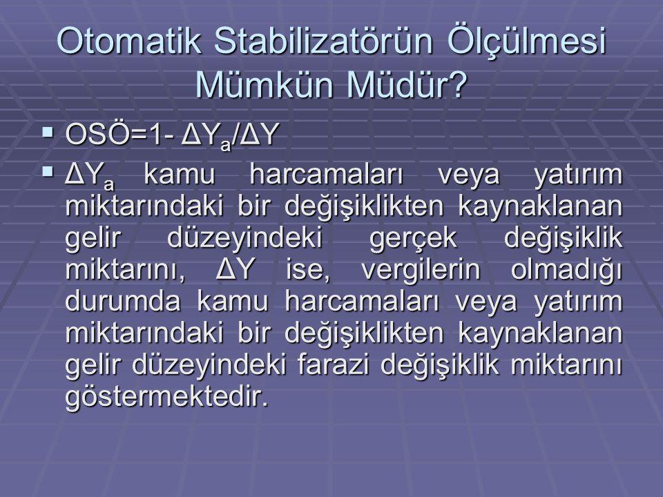 Otomatik Stabilizatörün Ölçülmesi Mümkün Müdür?  OSÖ=1- ΔY a /ΔY  ΔY a kamu harcamaları veya yatırım miktarındaki bir değişiklikten kaynaklanan geli