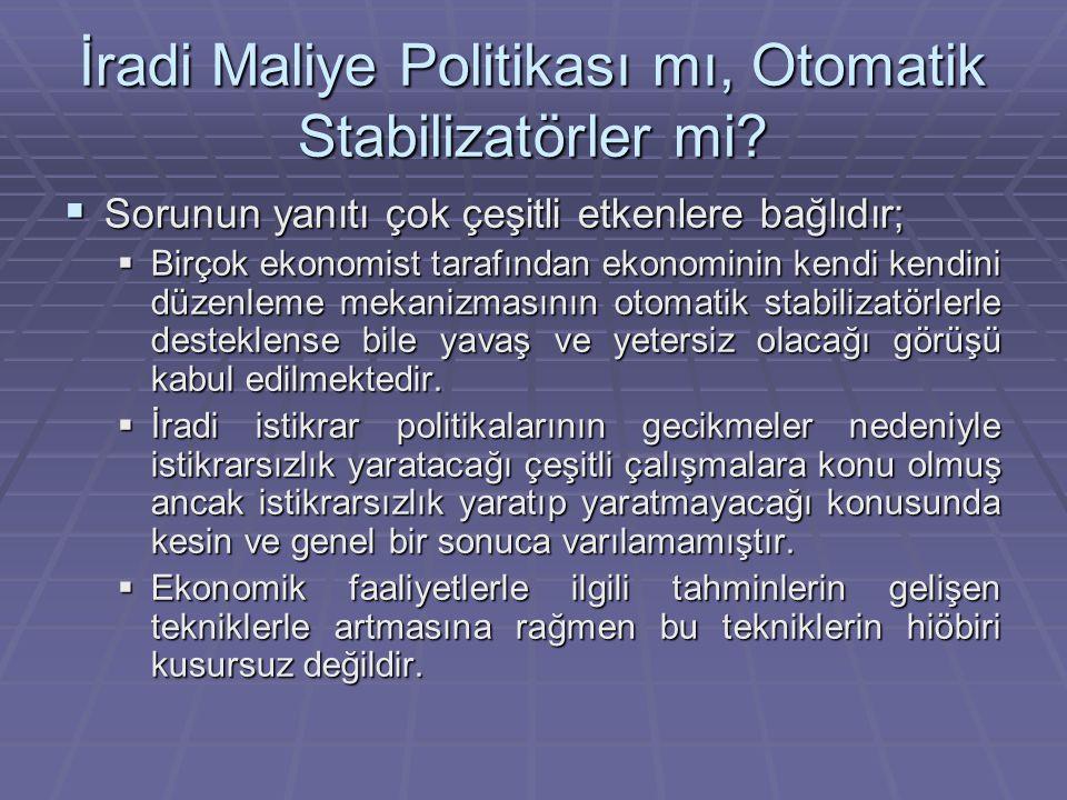 İradi Maliye Politikası mı, Otomatik Stabilizatörler mi?  Sorunun yanıtı çok çeşitli etkenlere bağlıdır;  Birçok ekonomist tarafından ekonominin ken