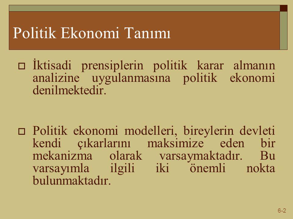 6-2 Politik Ekonomi Tanımı  İktisadi prensiplerin politik karar almanın analizine uygulanmasına politik ekonomi denilmektedir.  Politik ekonomi mode