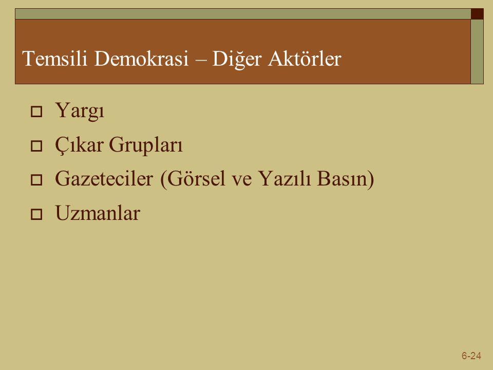 6-24 Temsili Demokrasi – Diğer Aktörler  Yargı  Çıkar Grupları  Gazeteciler (Görsel ve Yazılı Basın)  Uzmanlar
