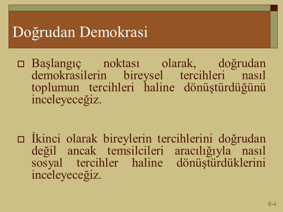 6-5 Doğrudan Demokrasi-İttifak Kuralı  Demokratik toplumlar kamu harcamalarının düzeyine karar vermekte değişik oylama süreçleri kullanırlar.