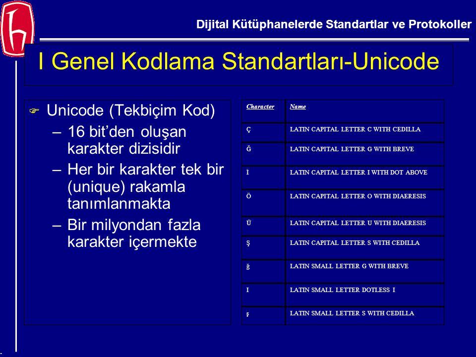Dijital Kütüphanelerde Standartlar ve Protokoller. I Genel Kodlama Standartları-Unicode F Unicode (Tekbiçim Kod) –16 bit'den oluşan karakter dizisidir