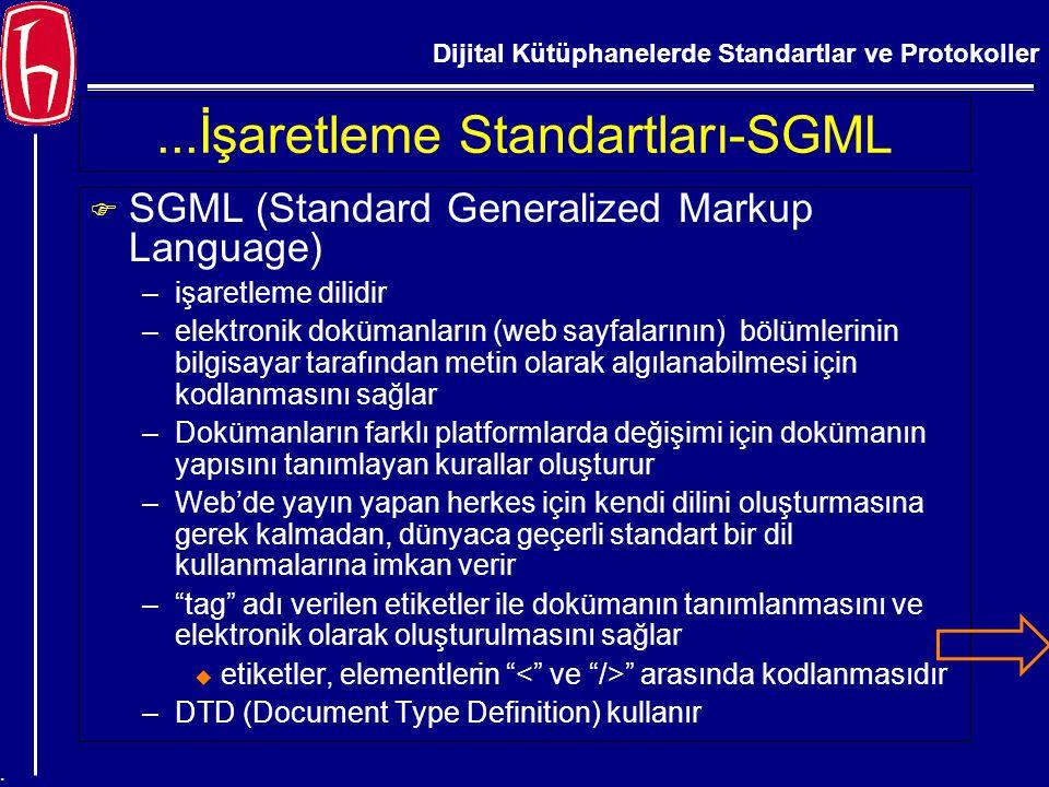 Dijital Kütüphanelerde Standartlar ve Protokoller....İşaretleme Standartları-SGML F SGML (Standard Generalized Markup Language) –işaretleme dilidir –e