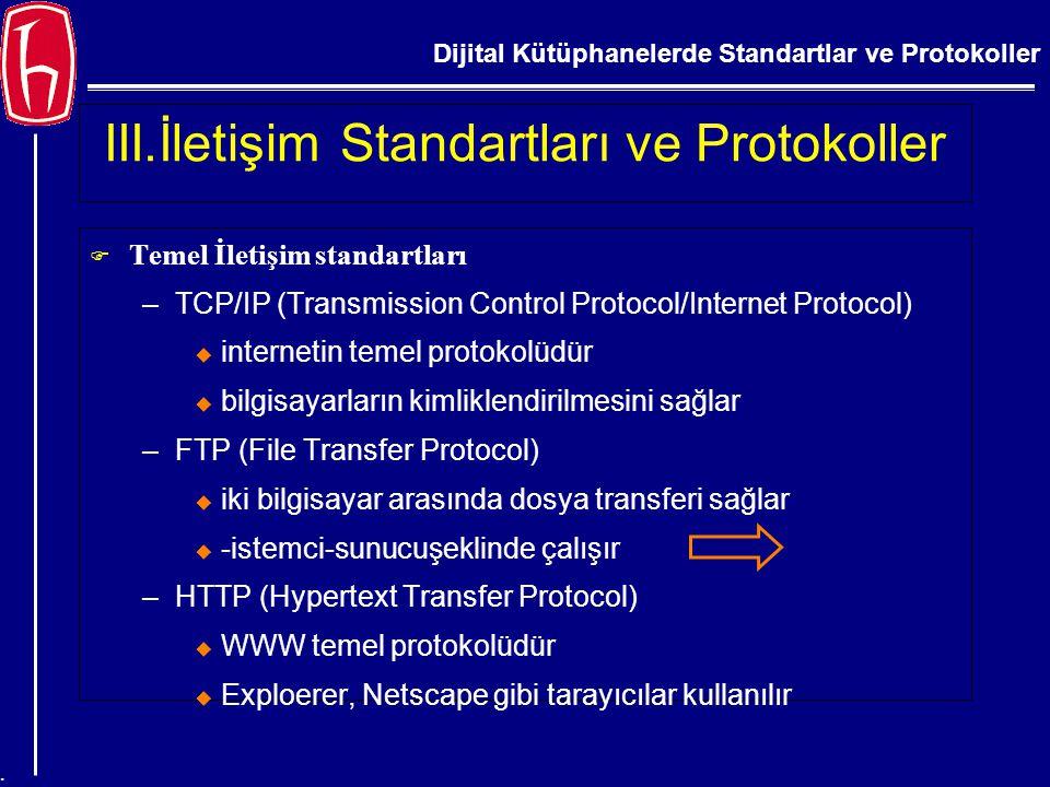 Dijital Kütüphanelerde Standartlar ve Protokoller. III.İletişim Standartları ve Protokoller  Temel İletişim standartları –TCP/IP (Transmission Contro