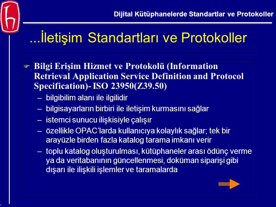 Dijital Kütüphanelerde Standartlar ve Protokoller....İletişim Standartları ve Protokoller  Bilgi Erişim Hizmet ve Protokolü (Information Retrieval Ap