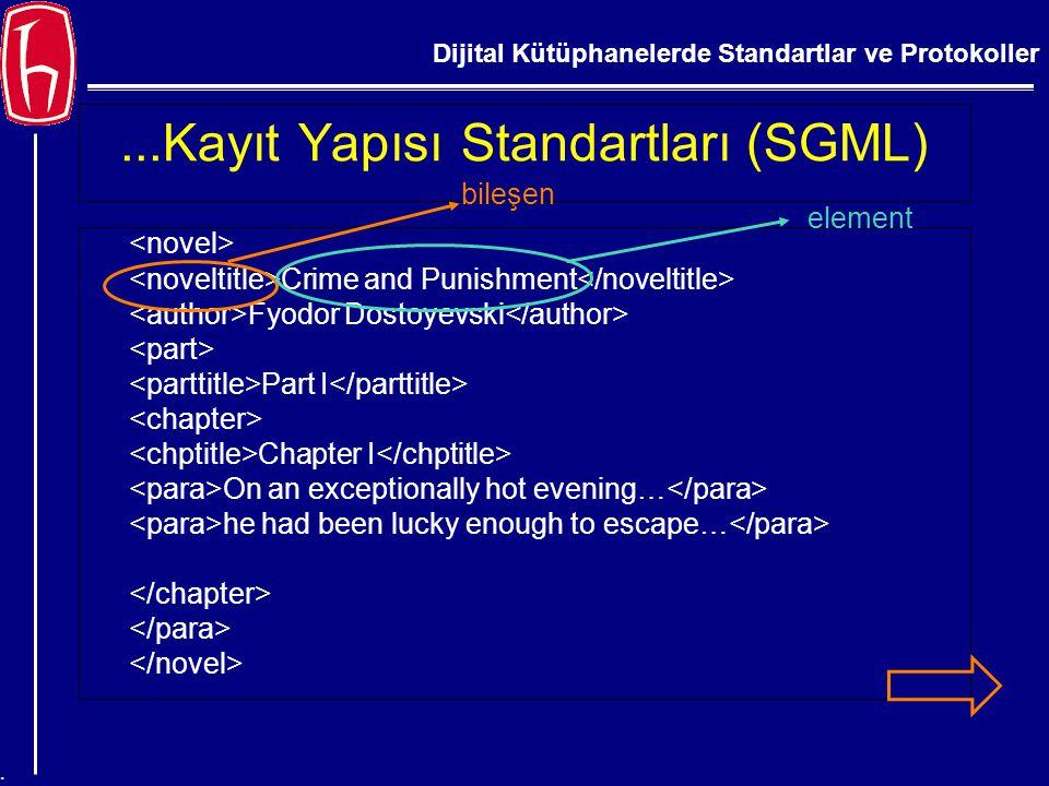 Dijital Kütüphanelerde Standartlar ve Protokoller....Kayıt Yapısı Standartları (SGML) Crime and Punishment Fyodor Dostoyevski Part I Chapter I On an e