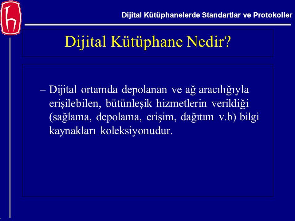 Dijital Kütüphanelerde Standartlar ve Protokoller. Dijital Kütüphane Nedir? –Dijital ortamda depolanan ve ağ aracılığıyla erişilebilen, bütünleşik hiz