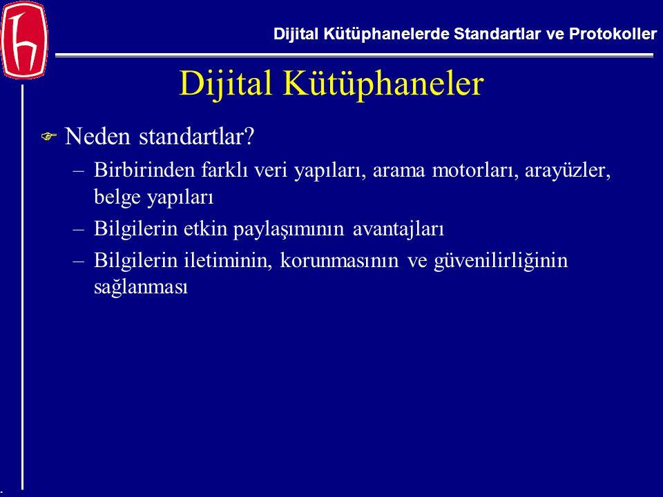Dijital Kütüphanelerde Standartlar ve Protokoller. Dijital Kütüphaneler  Neden standartlar? –Birbirinden farklı veri yapıları, arama motorları, arayü
