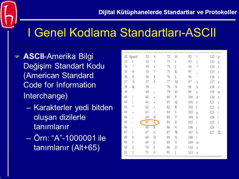 Dijital Kütüphanelerde Standartlar ve Protokoller. I Genel Kodlama Standartları-ASCII F ASCII-Amerika Bilgi Değişim Standart Kodu (American Standard C