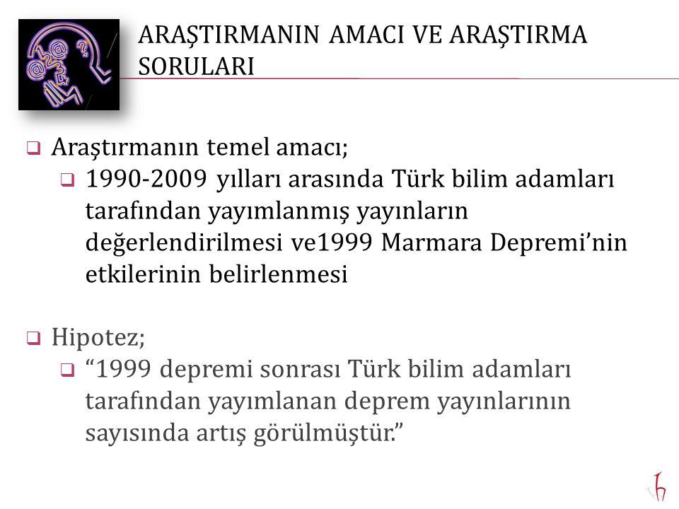  Araştırmanın temel amacı;  1990-2009 yılları arasında Türk bilim adamları tarafından yayımlanmış yayınların değerlendirilmesi ve1999 Marmara Depremi'nin etkilerinin belirlenmesi  Hipotez;  1999 depremi sonrası Türk bilim adamları tarafından yayımlanan deprem yayınlarının sayısında artış görülmüştür. ARAŞTIRMANIN AMACI VE ARAŞTIRMA SORULARI