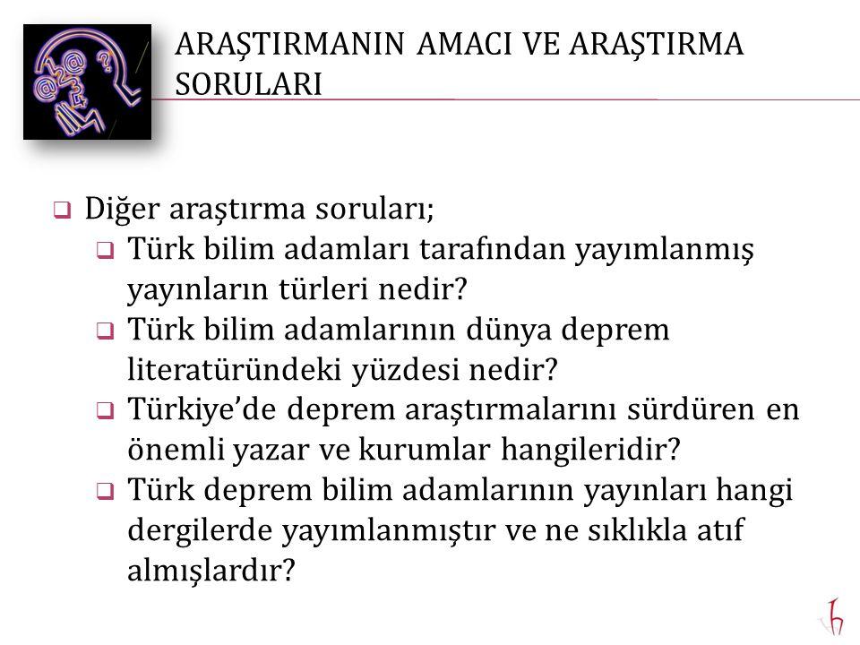  Diğer araştırma soruları;  Türk bilim adamları tarafından yayımlanmış yayınların türleri nedir.