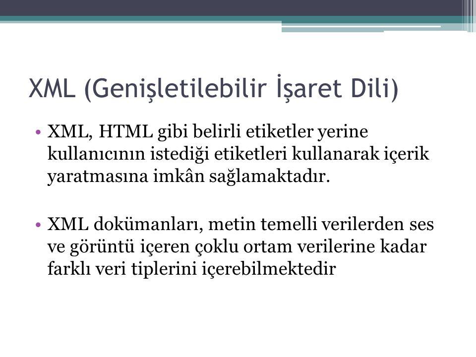 XML (Genişletilebilir İşaret Dili) XML, HTML gibi belirli etiketler yerine kullanıcının istediği etiketleri kullanarak içerik yaratmasına imkân sağlamaktadır.