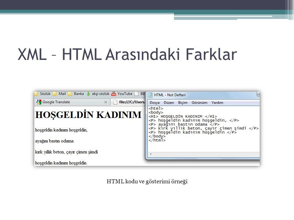 XML – HTML Arasındaki Farklar HTML kodu ve gösterimi örneği