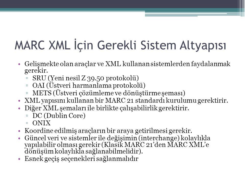 MARC XML İçin Gerekli Sistem Altyapısı Gelişmekte olan araçlar ve XML kullanan sistemlerden faydalanmak gerekir.