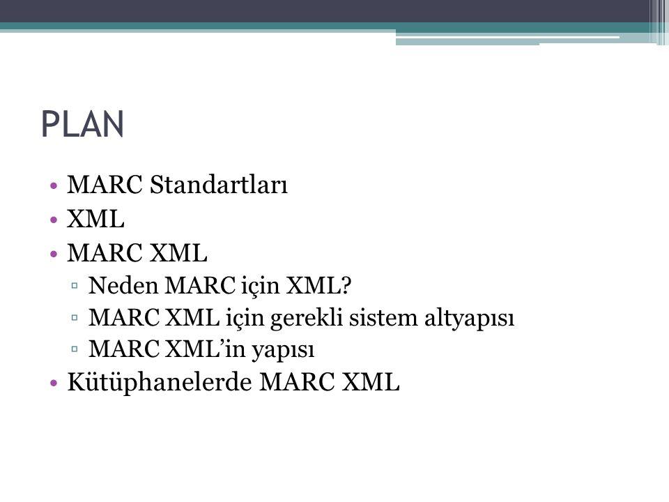 PLAN MARC Standartları XML MARC XML ▫Neden MARC için XML.