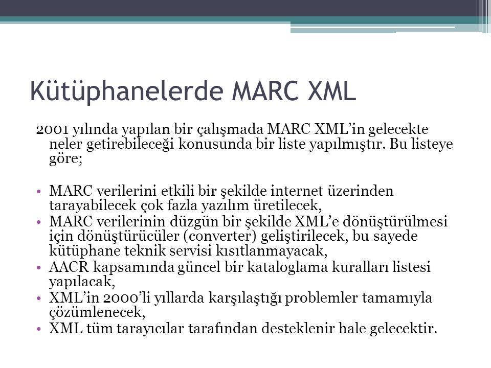 Kütüphanelerde MARC XML 2001 yılında yapılan bir çalışmada MARC XML'in gelecekte neler getirebileceği konusunda bir liste yapılmıştır.
