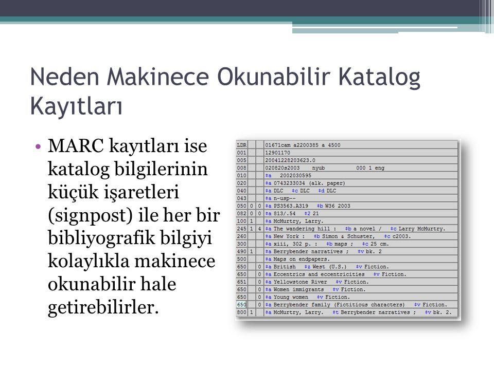 Neden Makinece Okunabilir Katalog Kayıtları MARC kayıtları ise katalog bilgilerinin küçük işaretleri (signpost) ile her bir bibliyografik bilgiyi kolaylıkla makinece okunabilir hale getirebilirler.