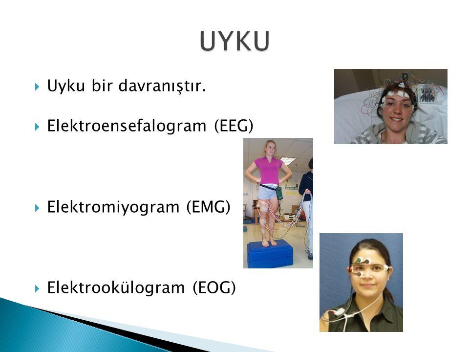  Uyku bir davranıştır.  Elektroensefalogram (EEG)  Elektromiyogram (EMG)  Elektrookülogram (EOG)
