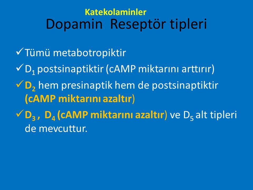 Dopamin Reseptör tipleri Tümü metabotropiktir D 1 postsinaptiktir (cAMP miktarını arttırır) D 2 hem presinaptik hem de postsinaptiktir (cAMP miktarını