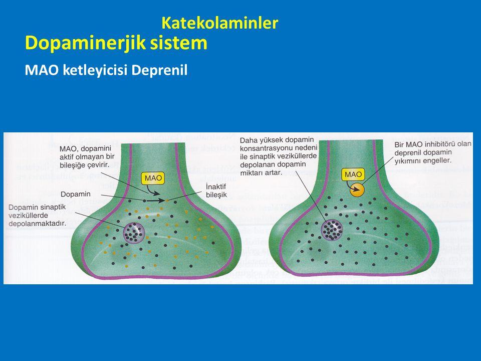 Dopaminerjik sistem MAO ketleyicisi Deprenil Katekolaminler
