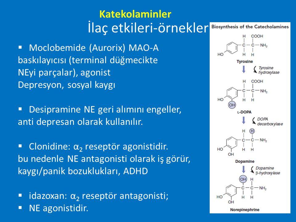 İlaç etkileri-örnekler  Moclobemide (Aurorix) MAO-A baskılayıcısı (terminal düğmecikte NEyi parçalar), agonist Depresyon, sosyal kaygı  Desipramine