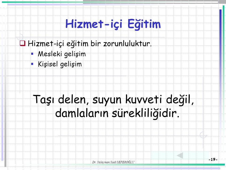 Dr. Süleyman Sadi SEFEROĞLU -19- Hizmet-içi Eğitim  Hizmet-içi eğitim bir zorunluluktur.  Mesleki gelişim  Kişisel gelişim Taşı delen, suyun kuvvet