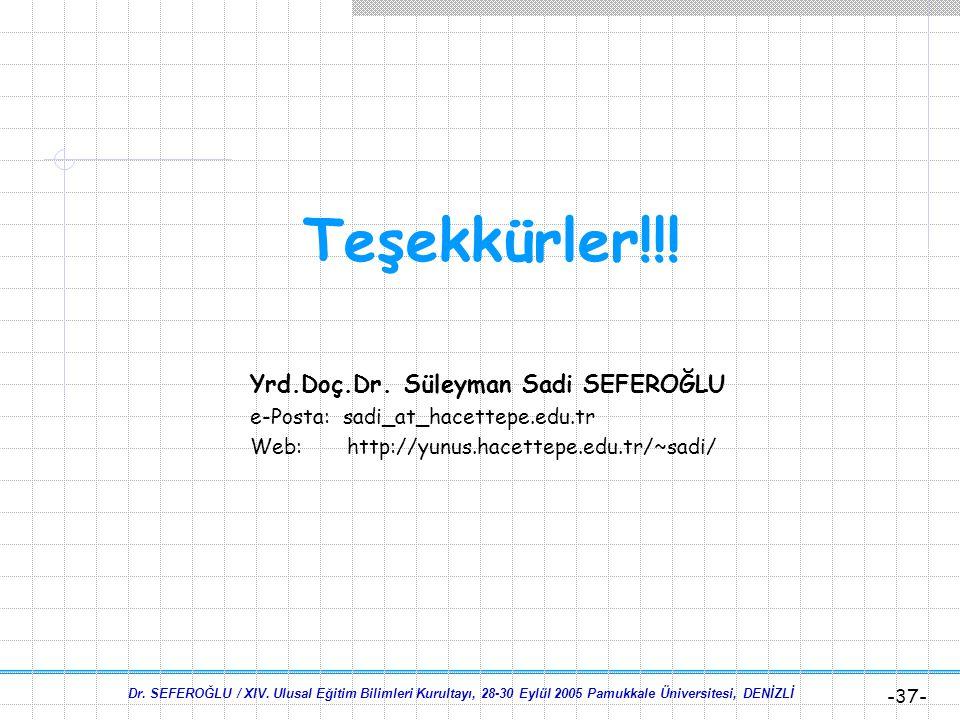 Dr. SEFEROĞLU / XIV. Ulusal Eğitim Bilimleri Kurultayı, 28-30 Eylül 2005 Pamukkale Üniversitesi, DENİZLİ -36- Son Söz  Araştırmalar bilgi teknolojile