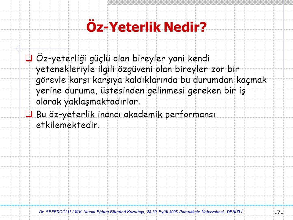Dr. SEFEROĞLU / XIV. Ulusal Eğitim Bilimleri Kurultayı, 28-30 Eylül 2005 Pamukkale Üniversitesi, DENİZLİ -6- Öz-Yeterlik Nedir? Bandura:  Öz-yeterlik