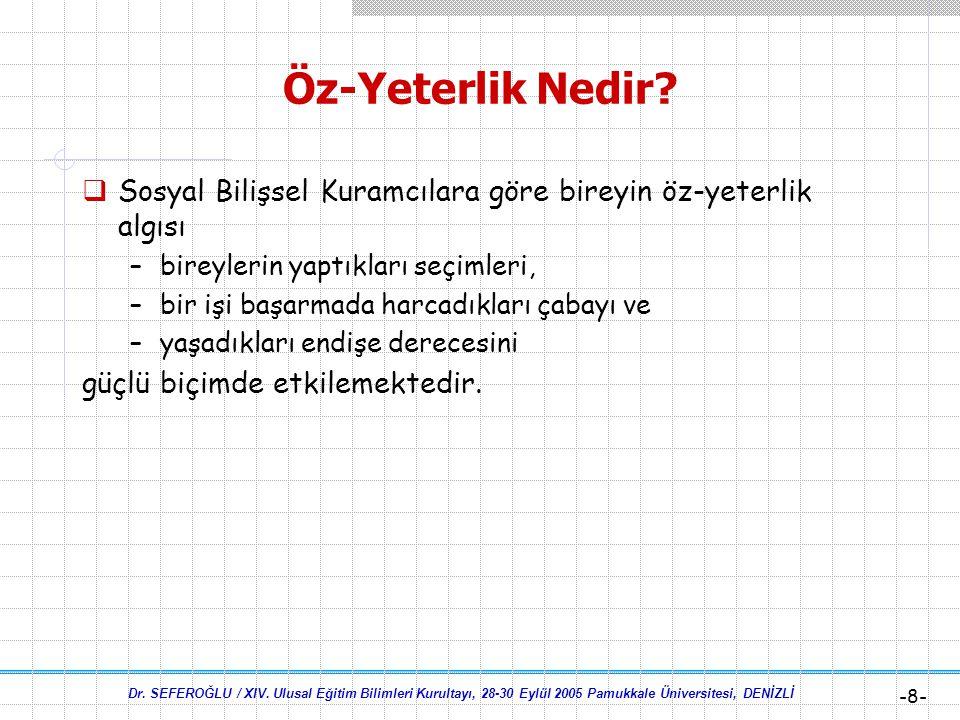 Dr. SEFEROĞLU / XIV. Ulusal Eğitim Bilimleri Kurultayı, 28-30 Eylül 2005 Pamukkale Üniversitesi, DENİZLİ -7- Öz-Yeterlik Nedir?  Öz-yeterliği güçlü o