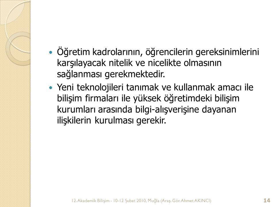 12. Akademik Bilişim - 10-12 Şubat 2010, Mu ğ la (Araş. Gör. Ahmet AKINCI) 14 Öğretim kadrolarının, öğrencilerin gereksinimlerini karşılayacak nitelik