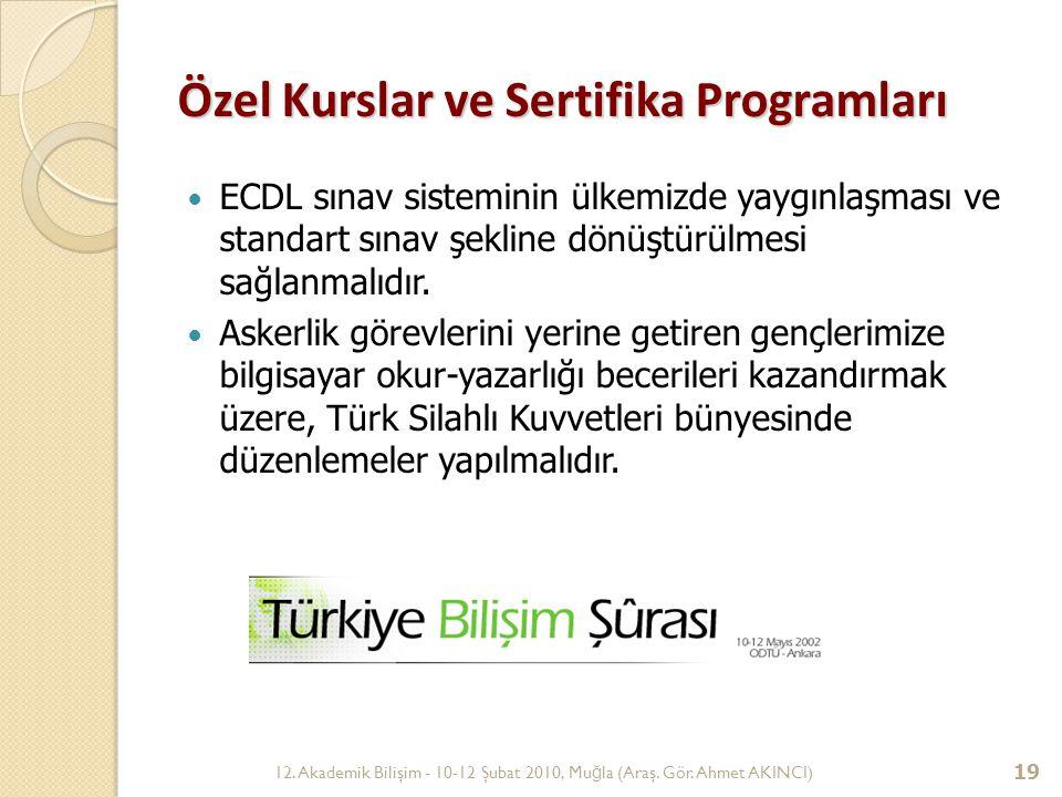 12. Akademik Bilişim - 10-12 Şubat 2010, Mu ğ la (Araş. Gör. Ahmet AKINCI) 19 Özel Kurslar ve Sertifika Programları ECDL sınav sisteminin ülkemizde ya