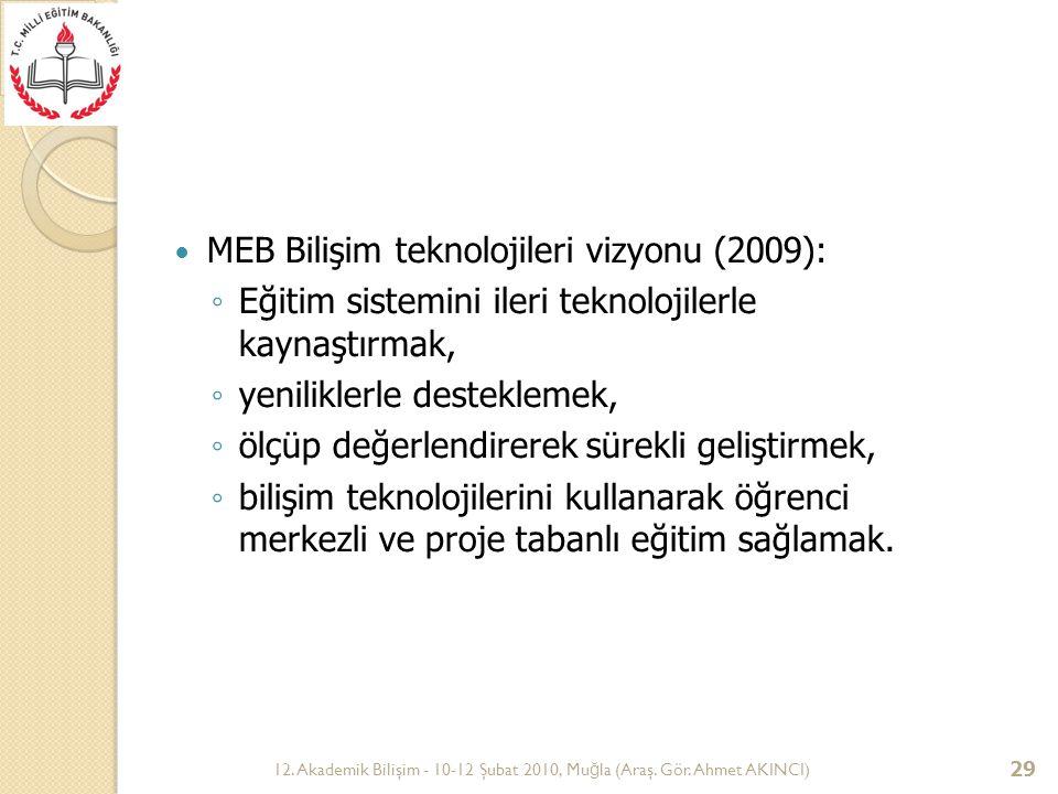 12. Akademik Bilişim - 10-12 Şubat 2010, Mu ğ la (Araş. Gör. Ahmet AKINCI) 29 MEB Bilişim teknolojileri vizyonu (2009): ◦ Eğitim sistemini ileri tekno