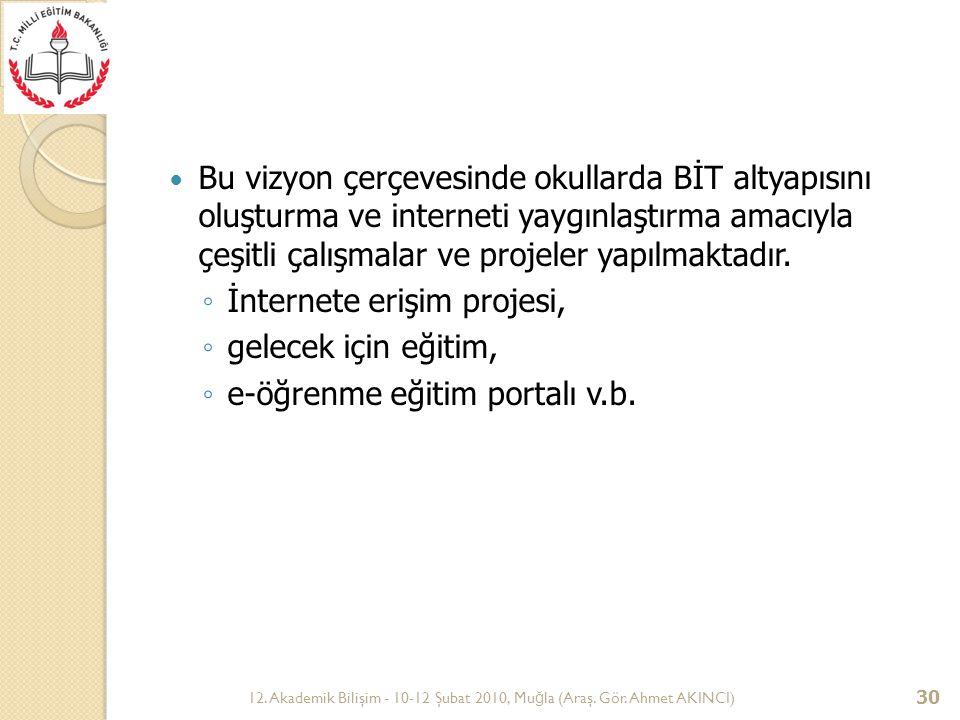 12. Akademik Bilişim - 10-12 Şubat 2010, Mu ğ la (Araş. Gör. Ahmet AKINCI) 30 Bu vizyon çerçevesinde okullarda BİT altyapısını oluşturma ve interneti