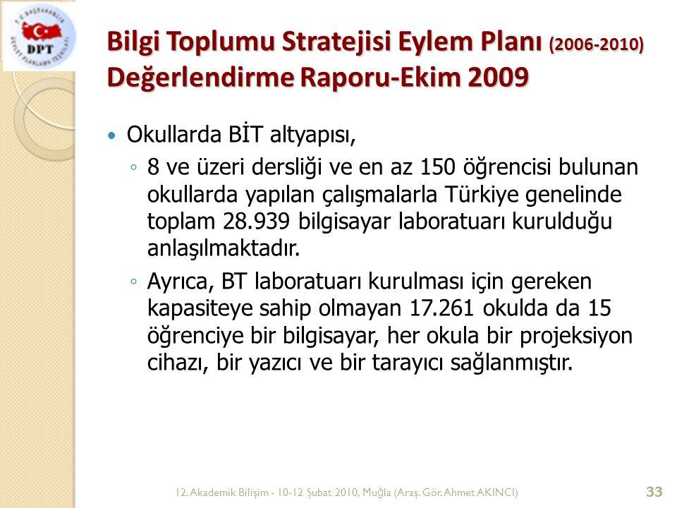 12. Akademik Bilişim - 10-12 Şubat 2010, Mu ğ la (Araş. Gör. Ahmet AKINCI) 33 Bilgi Toplumu Stratejisi Eylem Planı (2006-2010) Değerlendirme Raporu-Ek