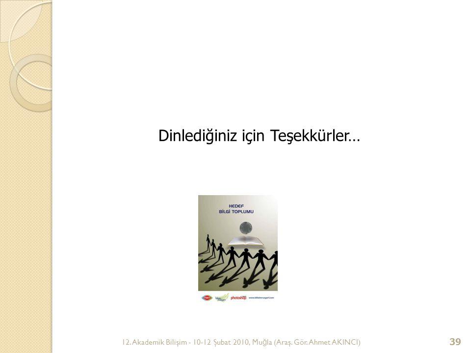 12. Akademik Bilişim - 10-12 Şubat 2010, Mu ğ la (Araş. Gör. Ahmet AKINCI) 39 Dinlediğiniz için Teşekkürler…