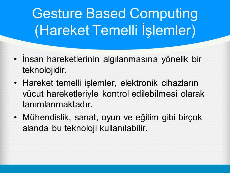 Gesture Based Computing (Hareket Temelli İşlemler) İnsan hareketlerinin algılanmasına yönelik bir teknolojidir. Hareket temelli işlemler, elektronik c