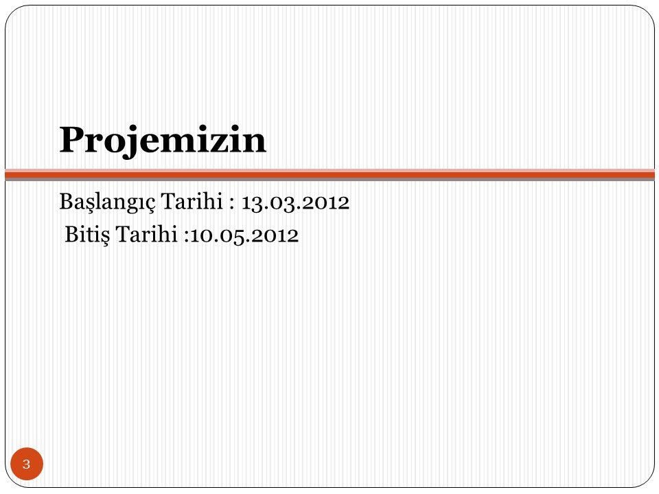 Projemizin Başlangıç Tarihi : 13.03.2012 Bitiş Tarihi :10.05.2012 3