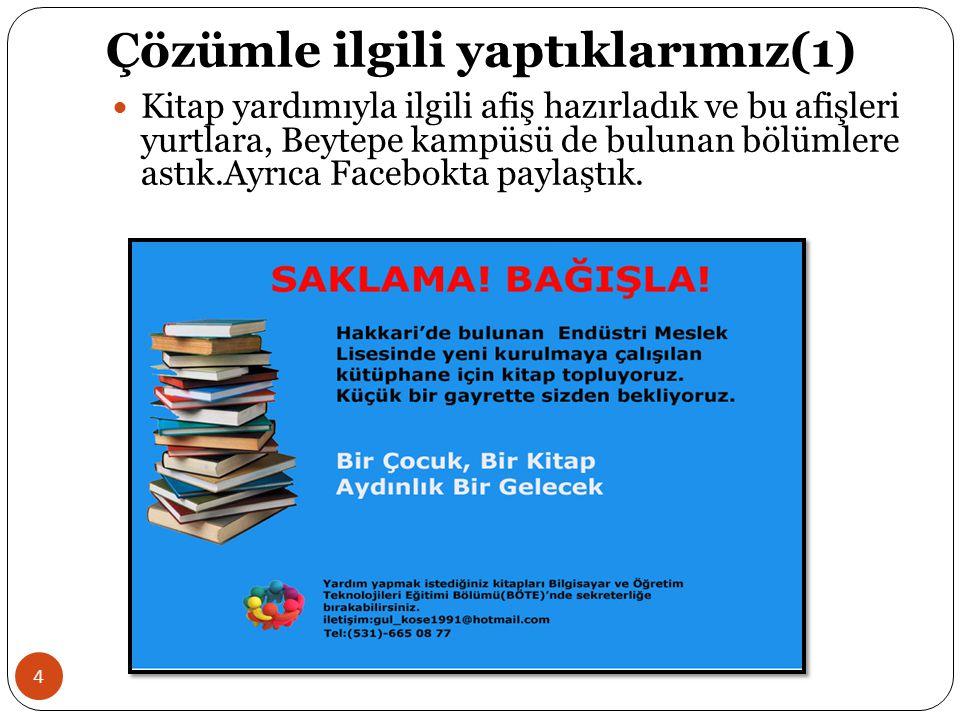 Çözümle ilgili yaptıklarımız(1) 4 Kitap yardımıyla ilgili afiş hazırladık ve bu afişleri yurtlara, Beytepe kampüsü de bulunan bölümlere astık.Ayrıca F