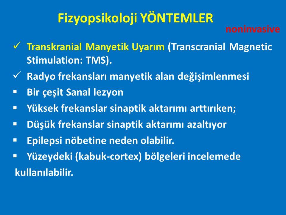 Transkranial Manyetik Uyarım (Transcranial Magnetic Stimulation: TMS). Radyo frekansları manyetik alan değişimlenmesi  Bir çeşit Sanal lezyon  Yükse