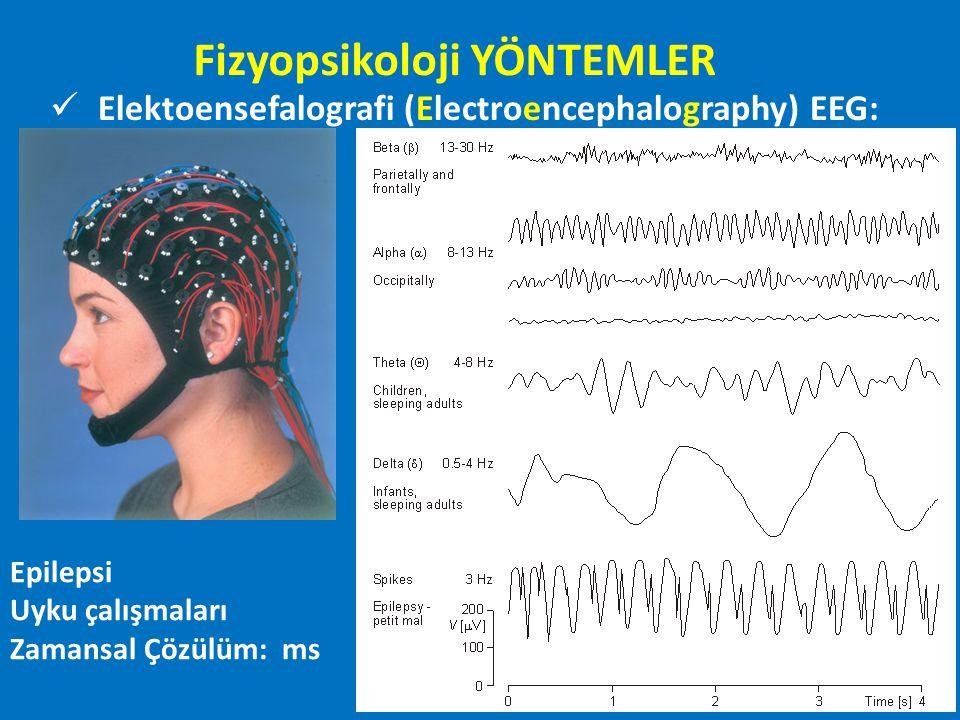 Elektoensefalografi (Electroencephalography) EEG: Epilepsi Uyku çalışmaları Zamansal Çözülüm: ms Fizyopsikoloji YÖNTEMLER