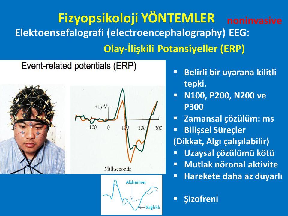 Elektoensefalografi (electroencephalography) EEG: Olay-İlişkili Potansiyeller (ERP)  Belirli bir uyarana kilitli tepki.  N100, P200, N200 ve P300 