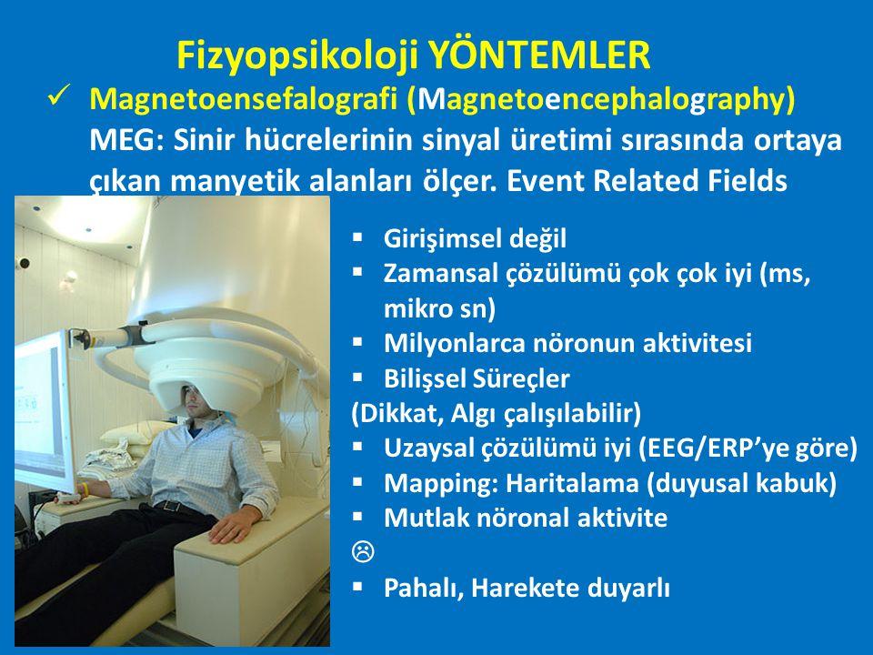 Magnetoensefalografi (Magnetoencephalography) MEG: Sinir hücrelerinin sinyal üretimi sırasında ortaya çıkan manyetik alanları ölçer. Event Related Fie