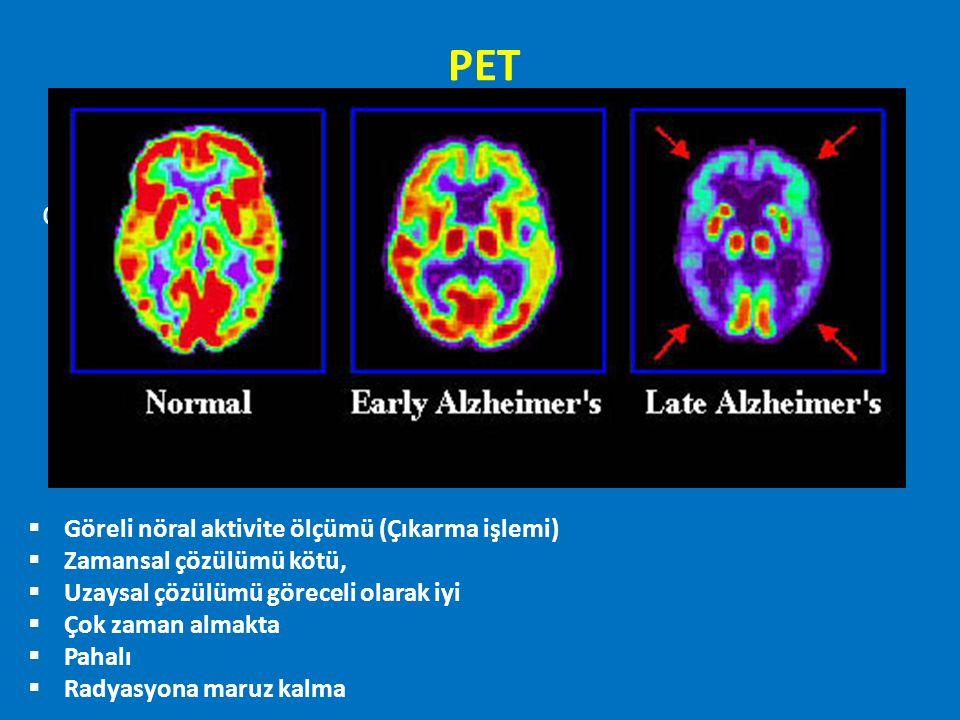 PET df  Göreli nöral aktivite ölçümü (Çıkarma işlemi)  Zamansal çözülümü kötü,  Uzaysal çözülümü göreceli olarak iyi  Çok zaman almakta  Pahalı 