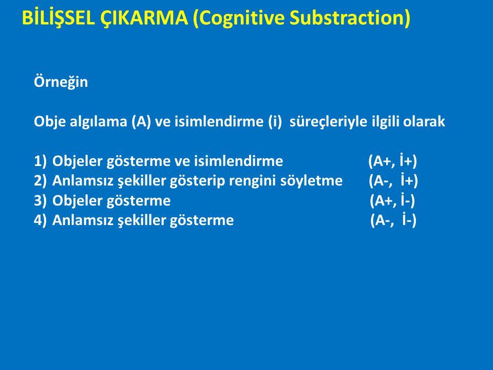 BİLİŞSEL ÇIKARMA (Cognitive Substraction) Örneğin Obje algılama (A) ve isimlendirme (i) süreçleriyle ilgili olarak 1)Objeler gösterme ve isimlendirme
