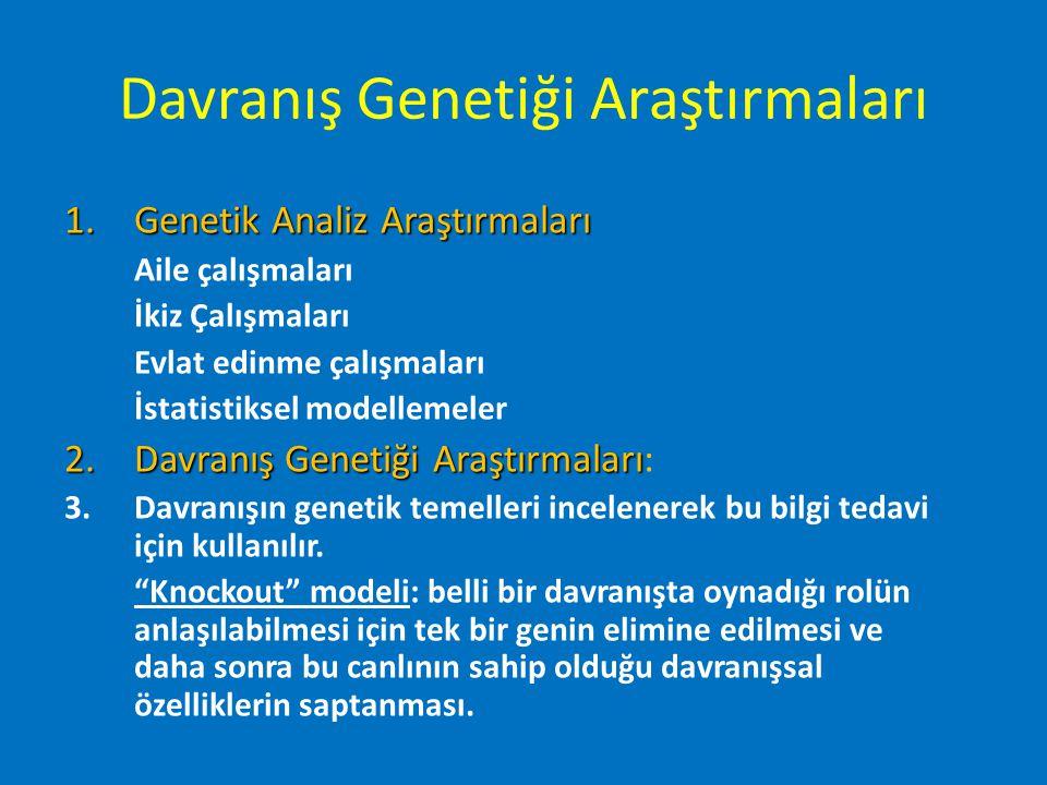 Davranış Genetiği Araştırmaları 1.Genetik Analiz Araştırmaları Aile çalışmaları İkiz Çalışmaları Evlat edinme çalışmaları İstatistiksel modellemeler 2
