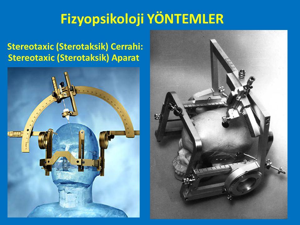 İŞLEVSEL GÖRÜNTÜLEME Fonksiyonel Manyetik Rezonanz Görüntüleme (Functional Magnetic Resonance Imaging: fMRI) Katılımcı hareketsiz kalmalı Soğuk Gürültülü Görece ucuz (PET'ten) Görevlerin öğretilmesi gerekmekte Kapalı alan korkusu olanlarda problematik Ferromagnetik objeler tehlike oluşturmakta Büyük boşluklara yakın alanlarda görüntüde netlik kaybı Fizyopsikoloji YÖNTEMLER