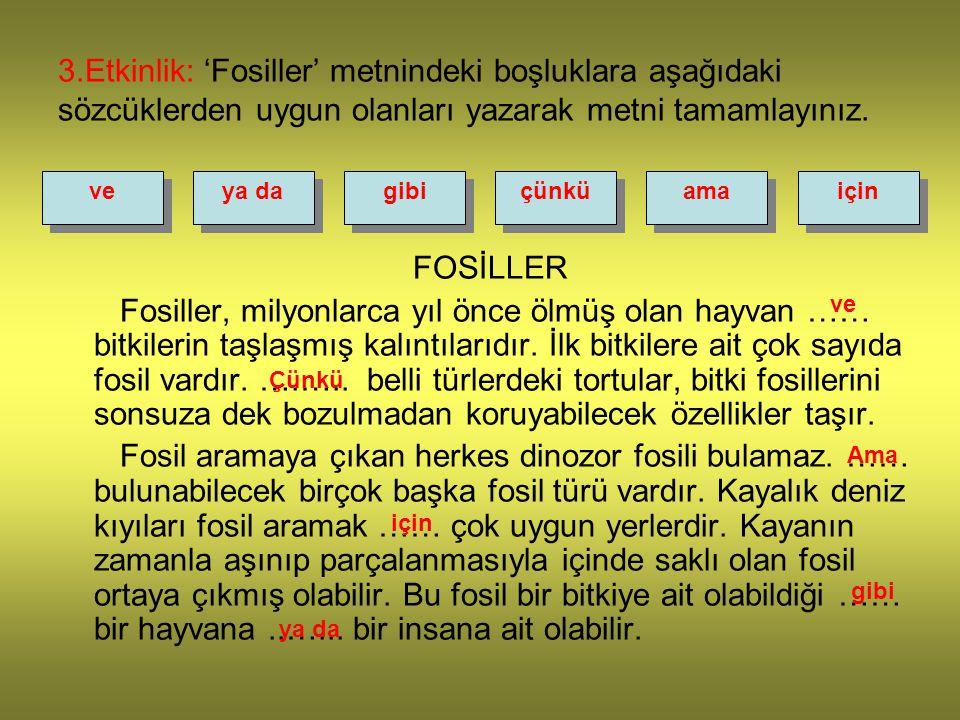 3.Etkinlik: 'Fosiller' metnindeki boşluklara aşağıdaki sözcüklerden uygun olanları yazarak metni tamamlayınız. veya dagibiçünküamaiçin FOSİLLER Fosill