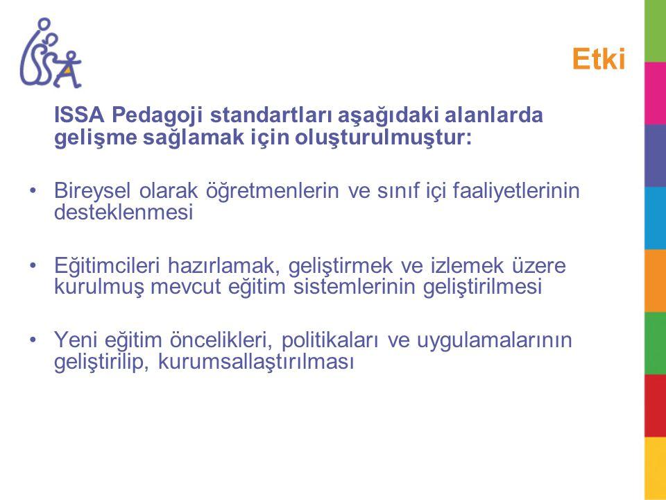 Etki ISSA Pedagoji standartları aşağıdaki alanlarda gelişme sağlamak için oluşturulmuştur: Bireysel olarak öğretmenlerin ve sınıf içi faaliyetlerinin
